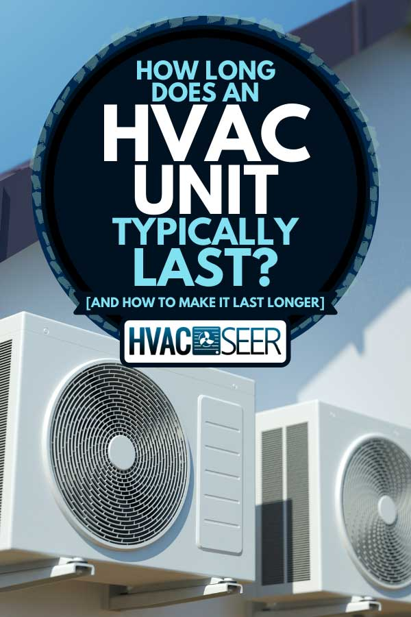 Air compressors on a house wall outside, How Long Does An HVAC Unit Typically Last?[And How To Make it Last Longer]