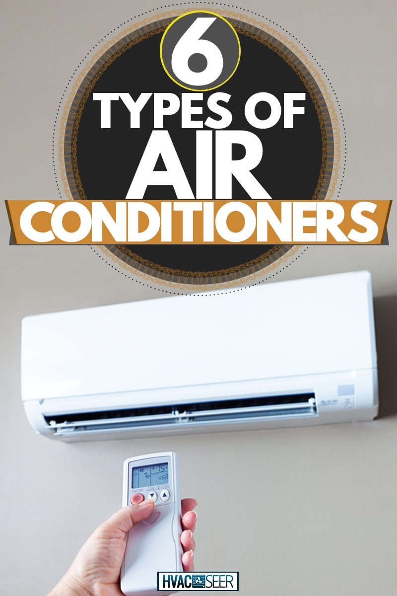 A hand holding an Air conditioner remote control, 6 Types Of Air Conditioners