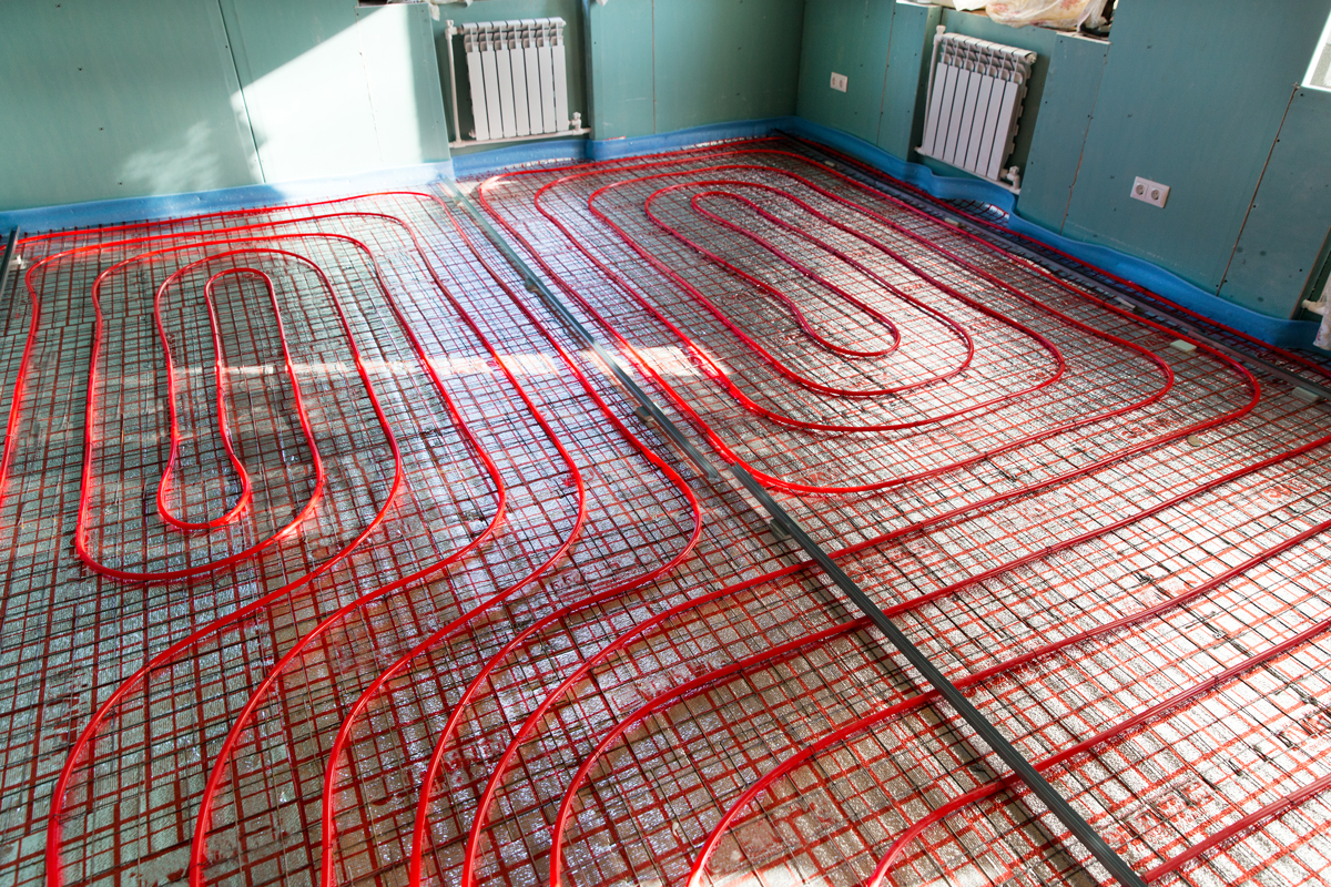 A contour layout of a heat insulated flooring with control panels attached on the walls, Can Heated Floors Go Under Carpet?