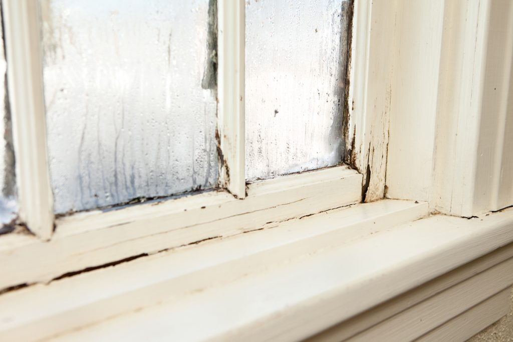 A damaged window due to air conditioner water dripping on the wooden frame of the window