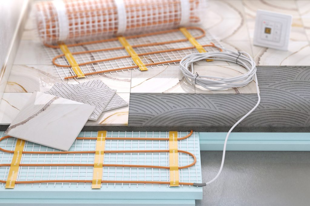A floor heating system on the bottom of the floor
