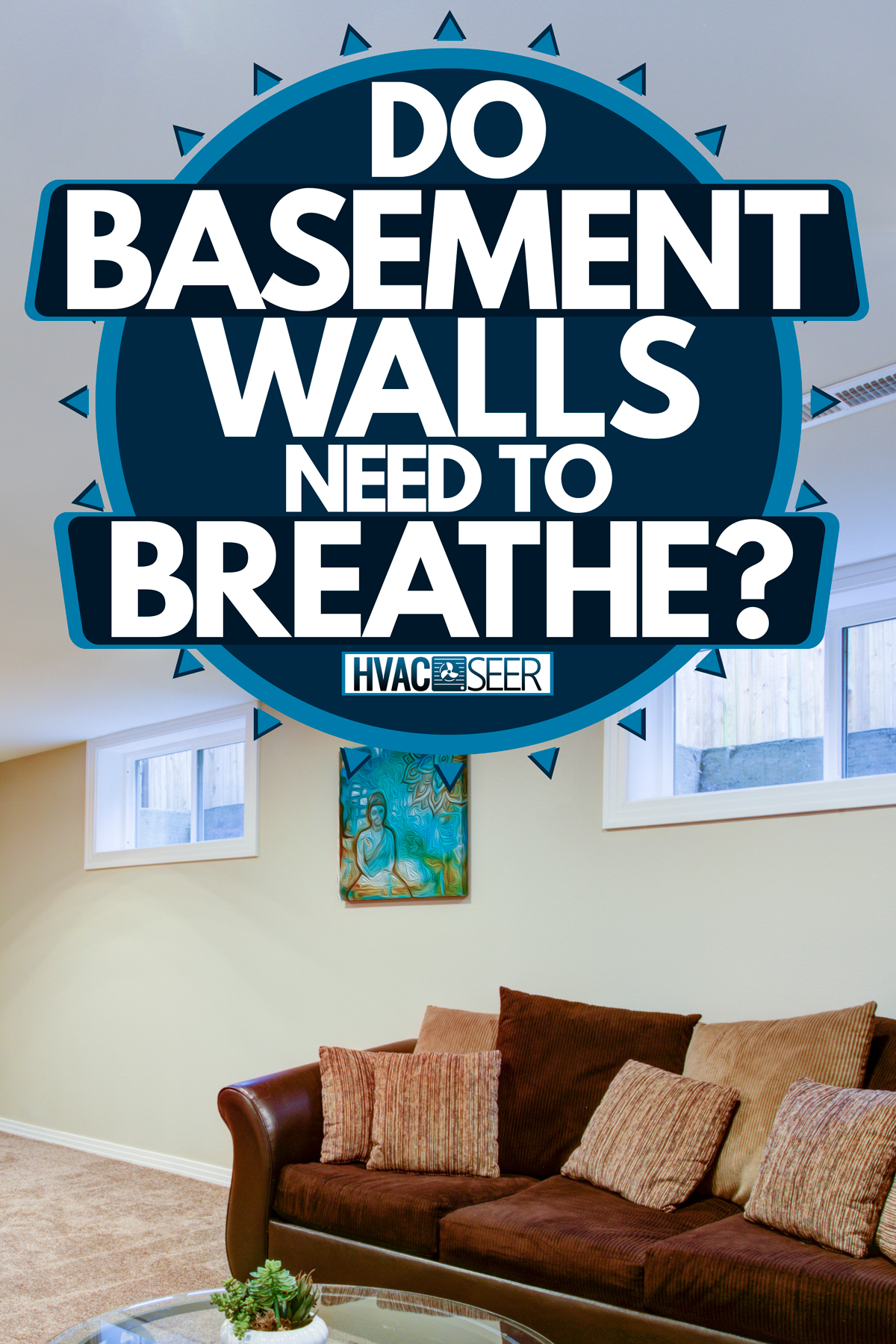 A modern basement with cream colored walls, wooden cabinets, and a brown sleeper couch, Do Basement Walls Need To Breathe?