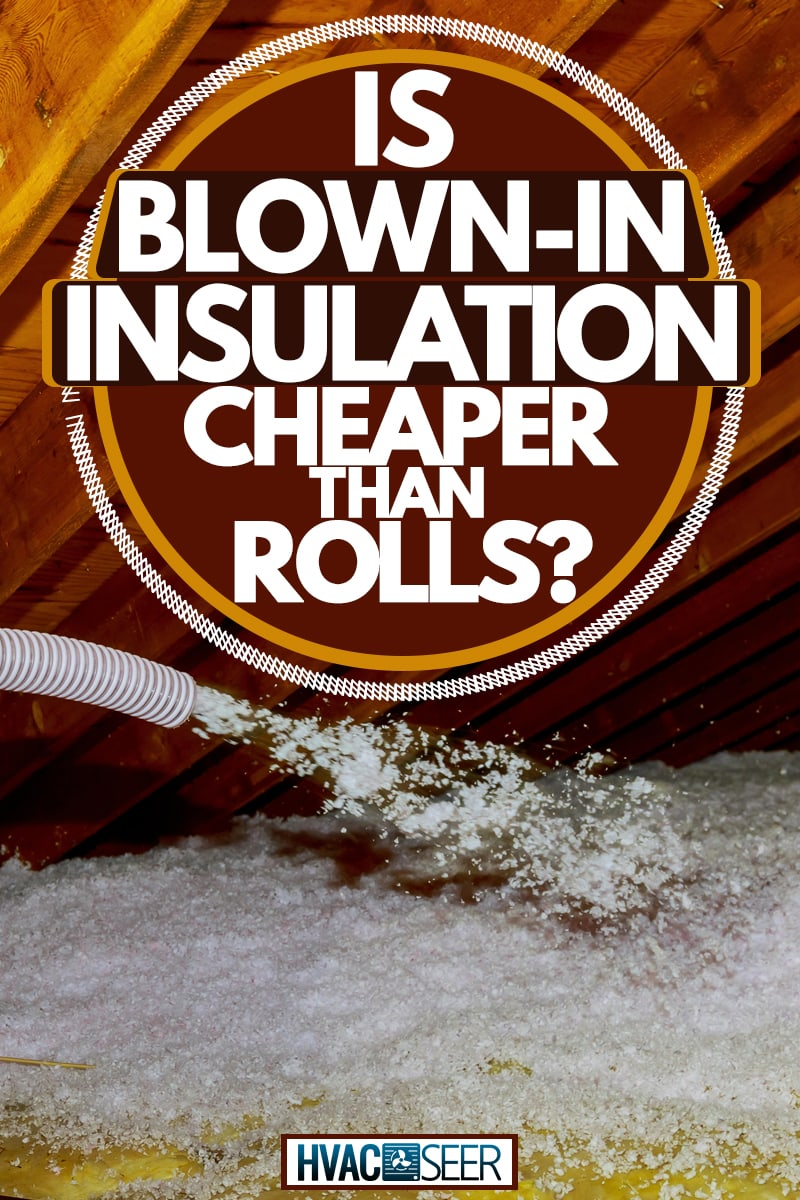 An insulation specialist pouring in blown in insulation in the flooring of an attic, Is Blown-In Insulation Cheaper Than Rolls?
