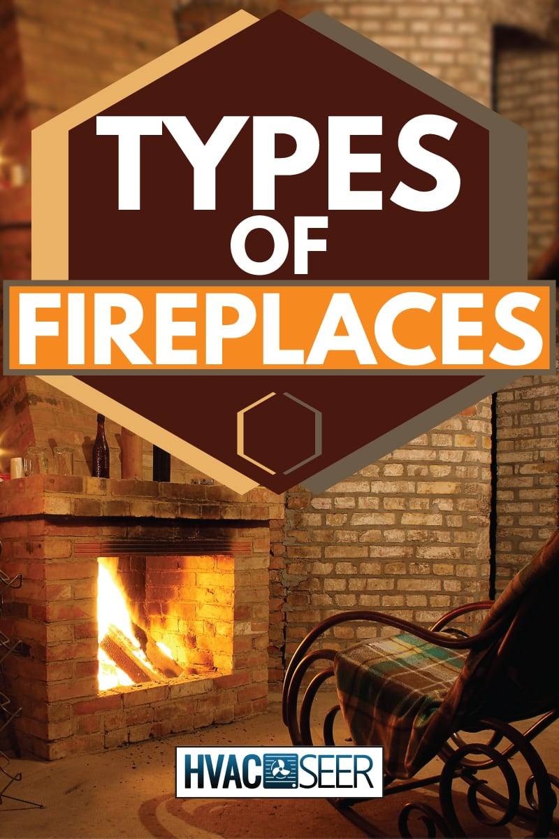 rocking chair by a brick fireplace with candles, types of fireplaces
