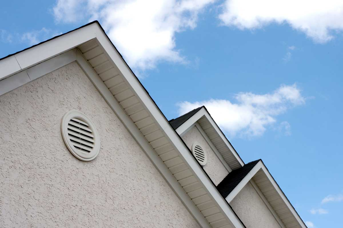 Close up of roof peaks and soffit vents