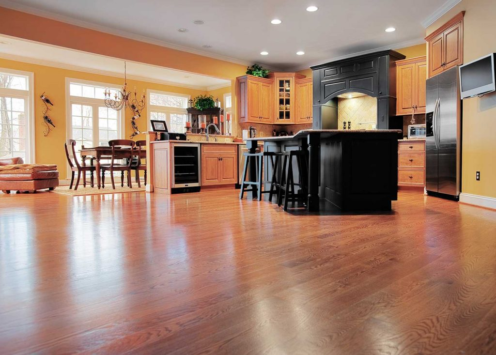 Home kitchen and dining interior with wooden floor