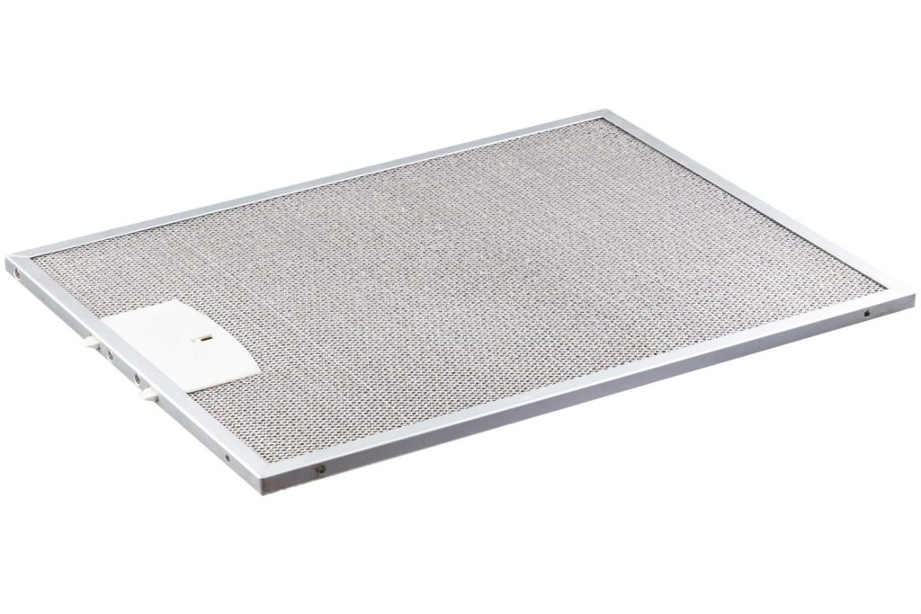 A detailed photo of a range hood filter on a white background