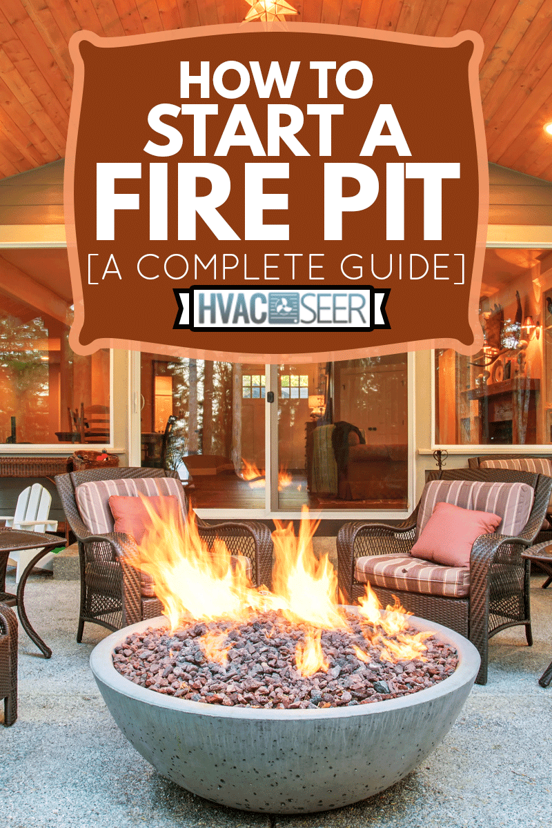 Large back yard with grass and covered patio with firepit, How To Start A Fire Pit [A Complete Guide]