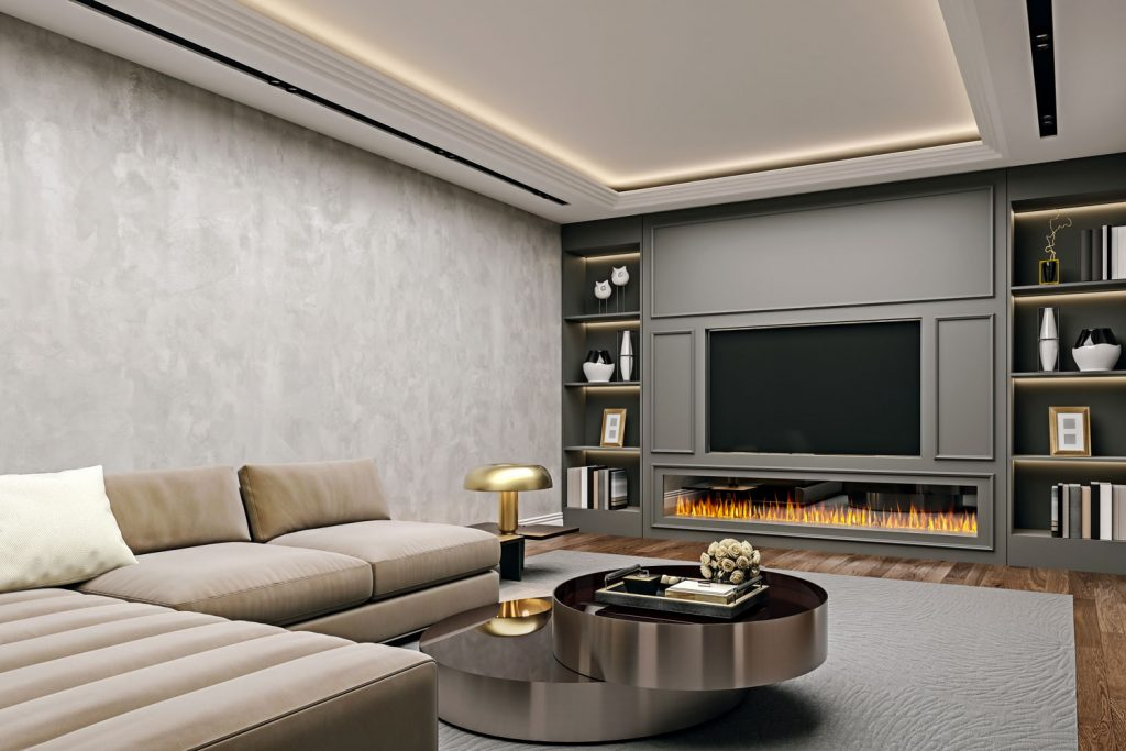 Interior of an ultra modern living room with stucco wall, a long span fireplace, and a sectional sofa