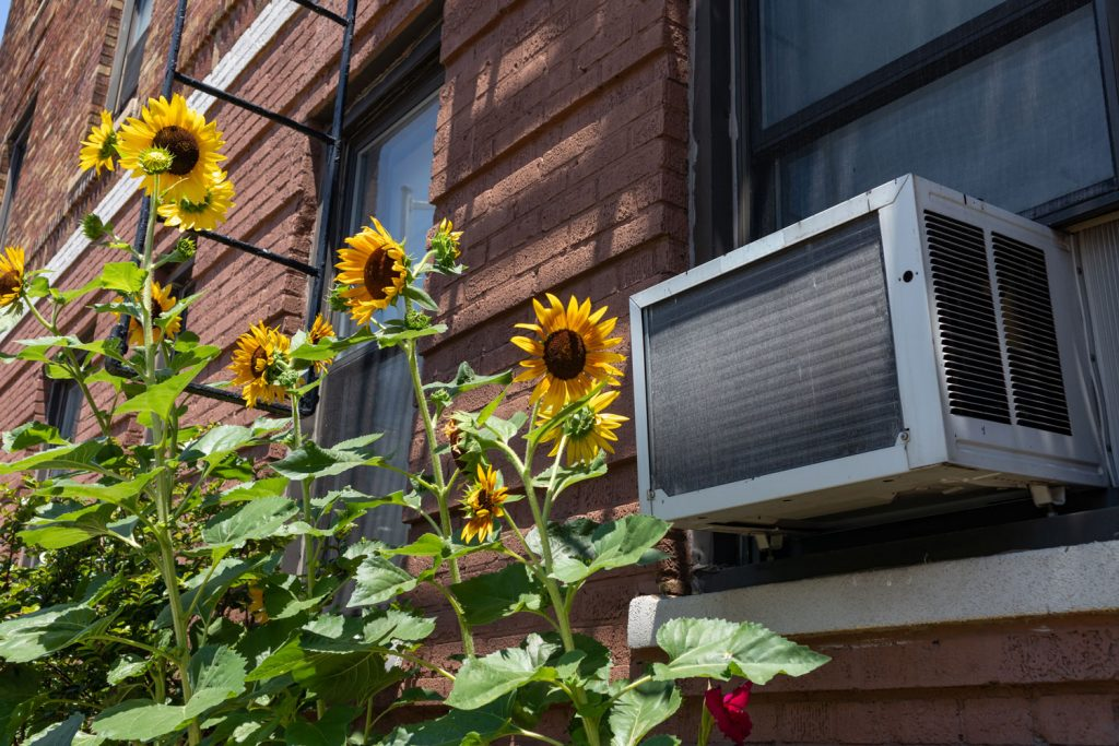An air conditioning unit photographed outside an apartment building