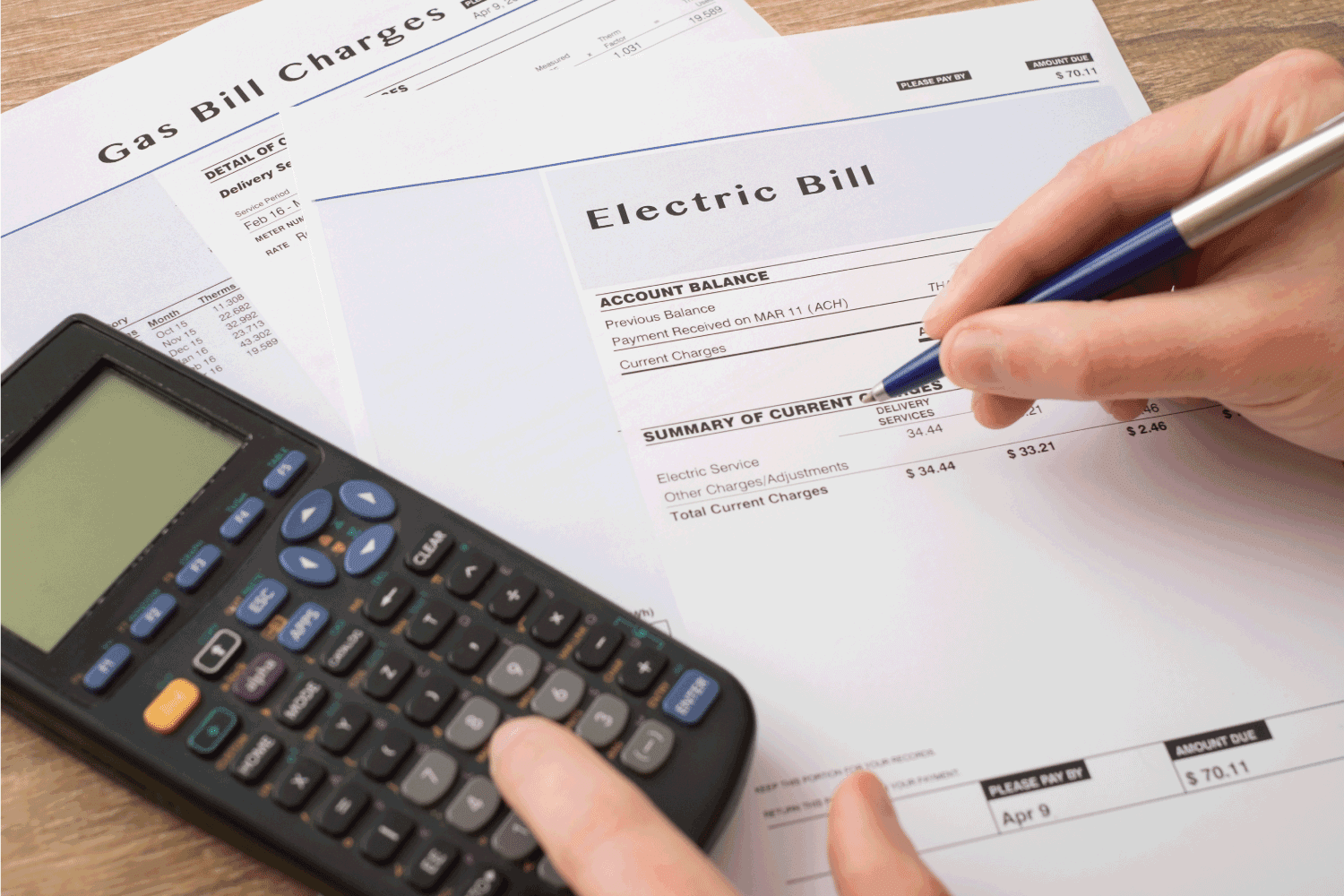 Electric bill charges paper form on the table