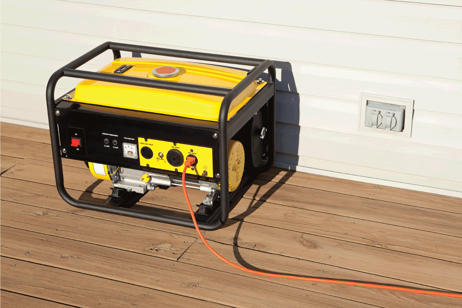 Extension cord plugged into a gasoline powered, 4000 watt, portable electric generator