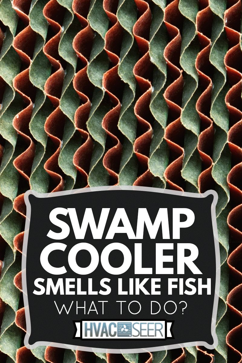 Close-up evaporative cooling pad texture in a farm, Swamp Cooler Smells Like Fish - What To Do?