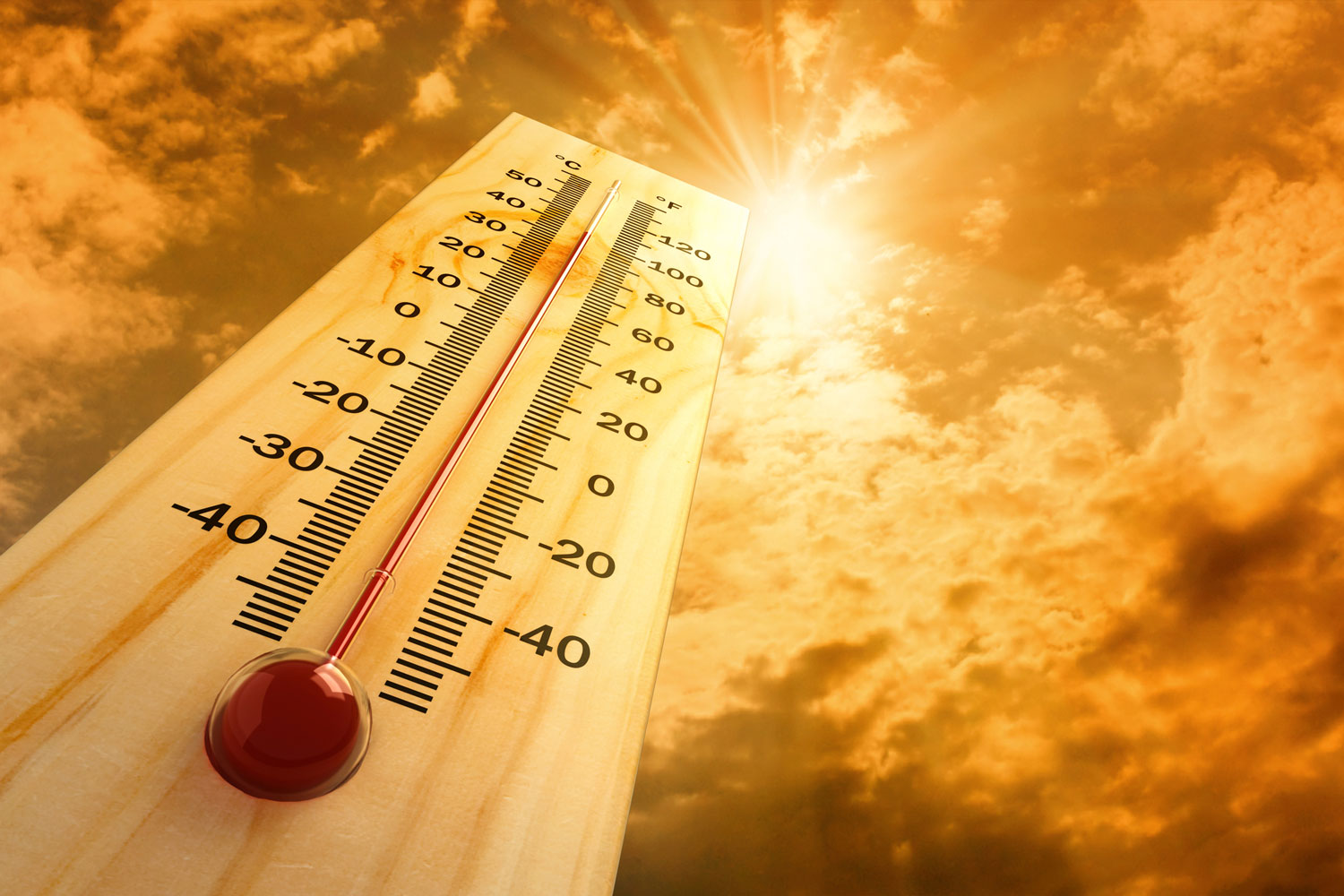 Thermometer in direct sunlight