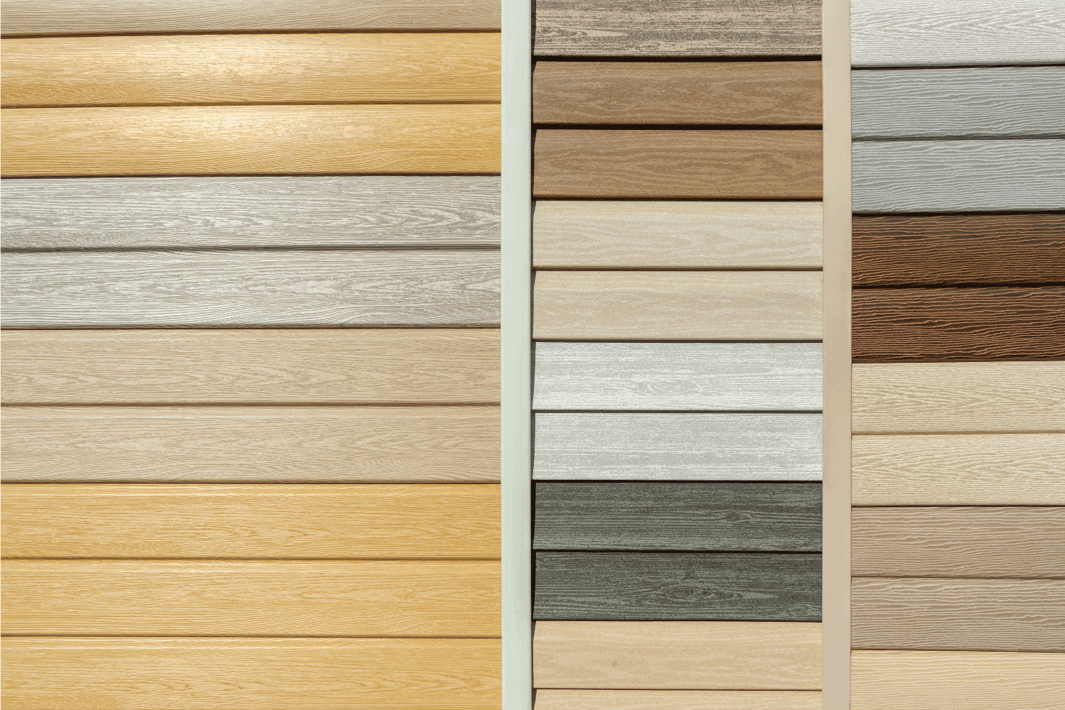 Vinyl siding with imitation wood texture in bright palette of colors. Plastic wall covering for exterior decoration of house.