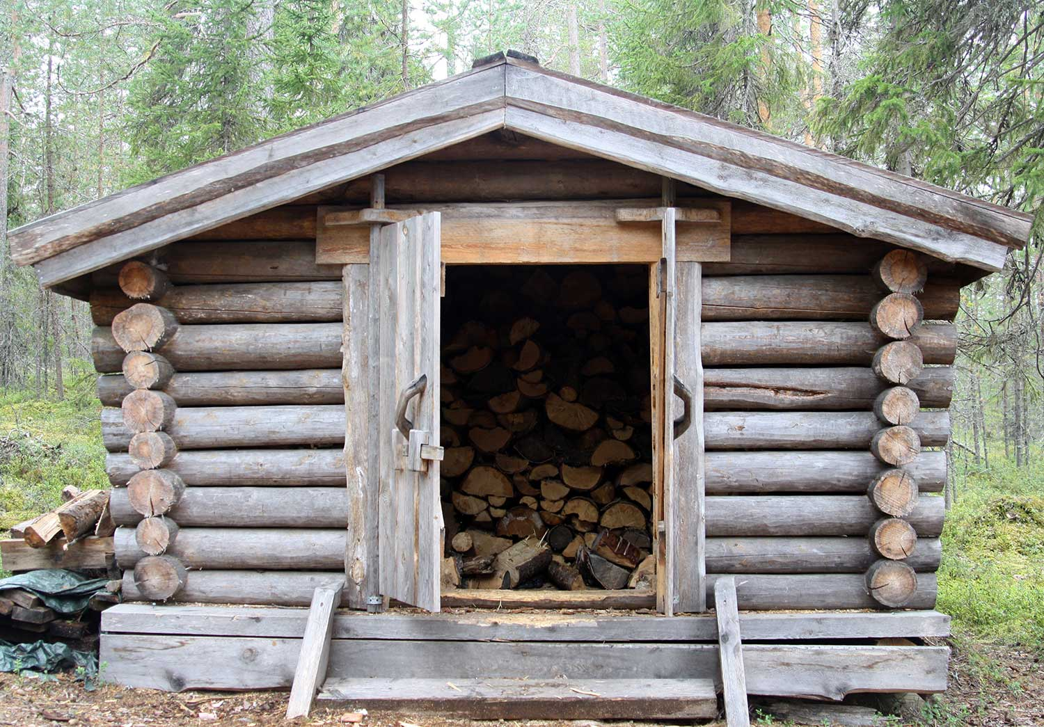 A wooden cabin for keeping firewood