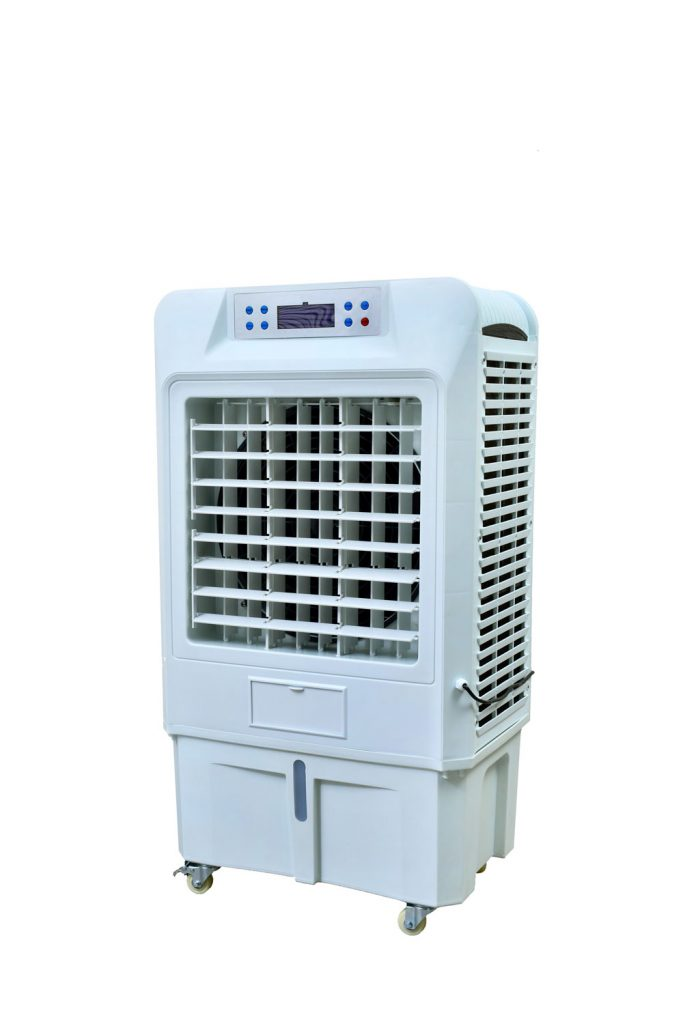 An evaporative air cooler on a white background