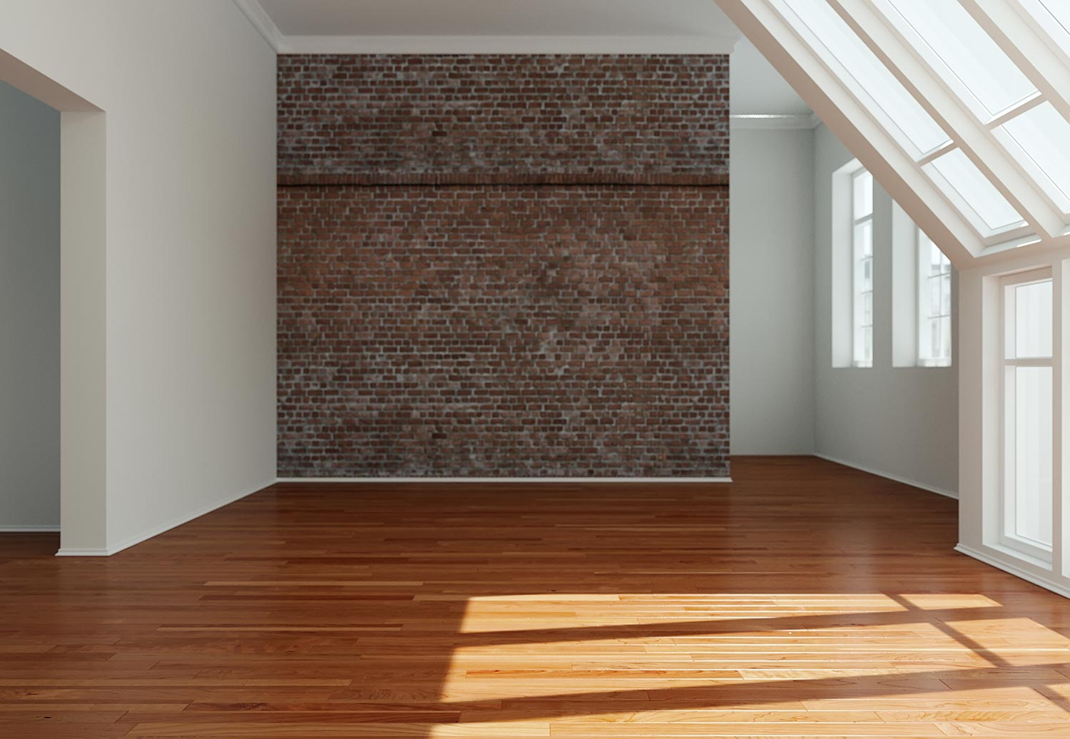 Empty room with windows and parquet