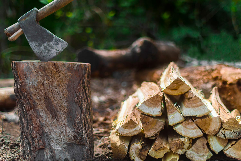 Axe in Wood log