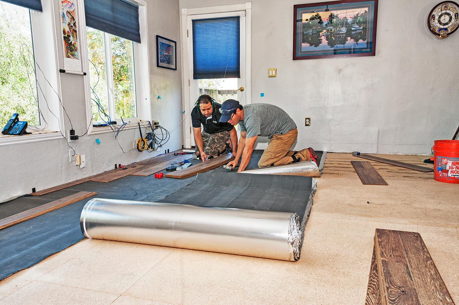 Placing new flooring in a newly renovated home