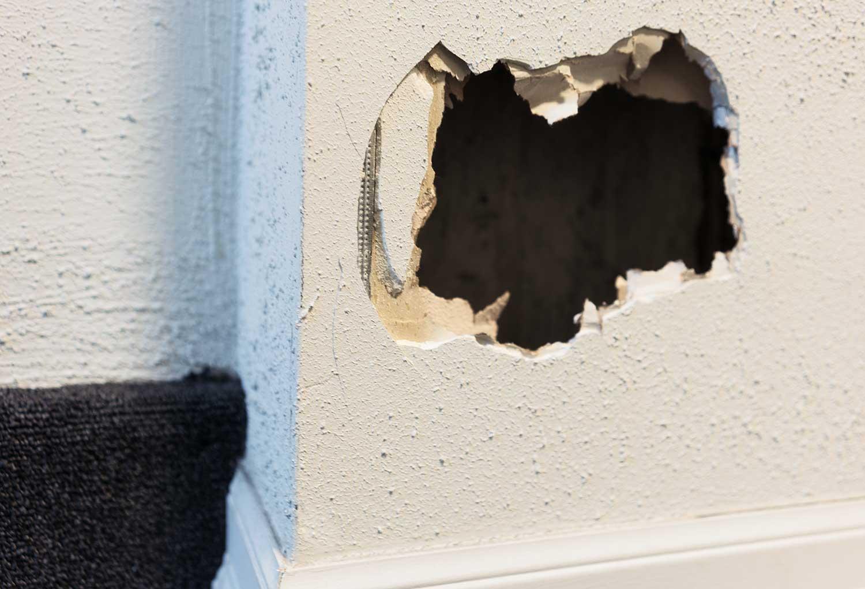 A hole in an internal house wall