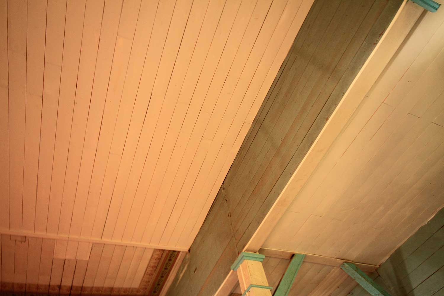 Tongue and groove ceiling of a home